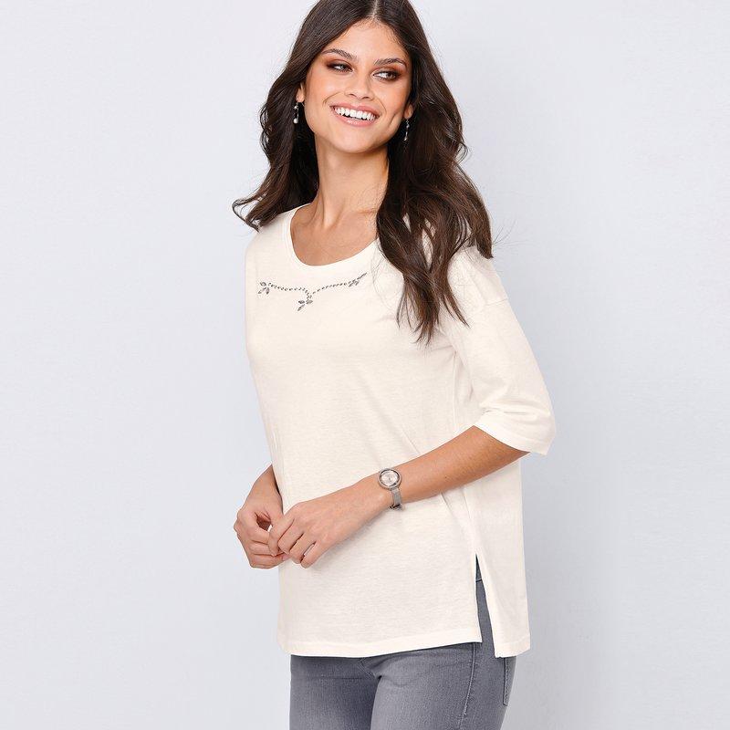Camiseta mujer con aplicaciones strass brillante