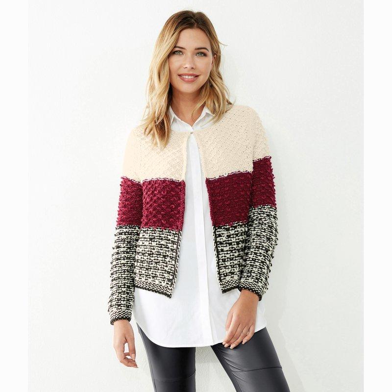 Chaqueta de mujer tricolor en junto tricot