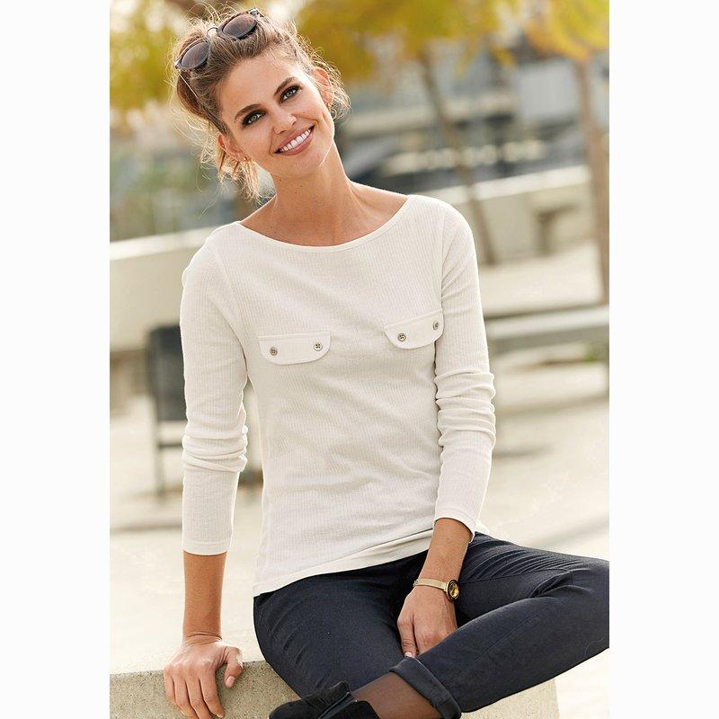 Camiseta de mujer en punto canalé escote barco