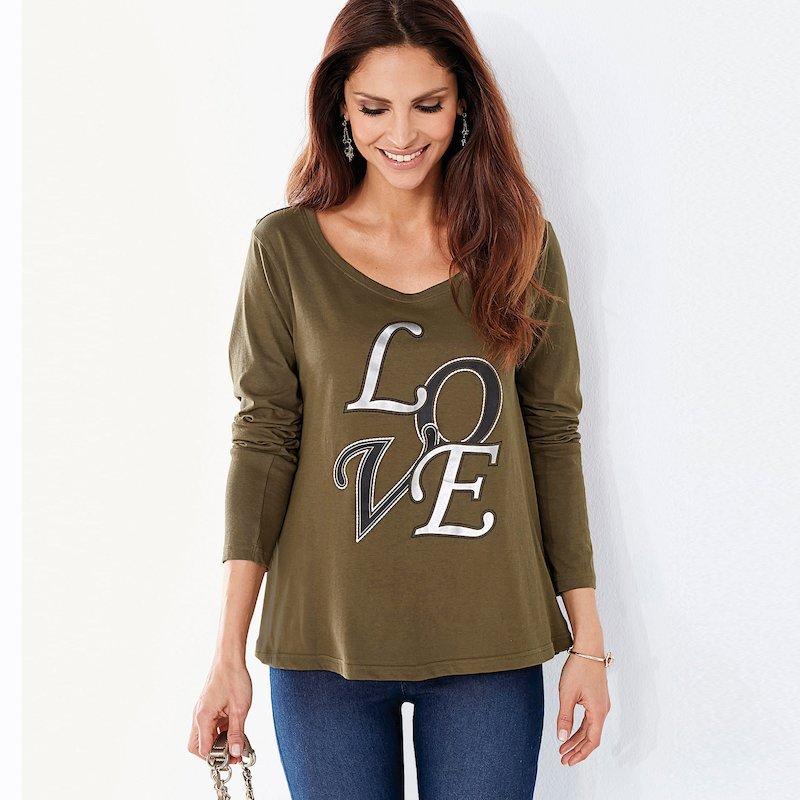 Camiseta mujer evasé  estampado metalizado LOVE