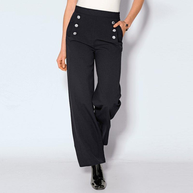 Pantalón largo mujer tiro alto pernera ancha