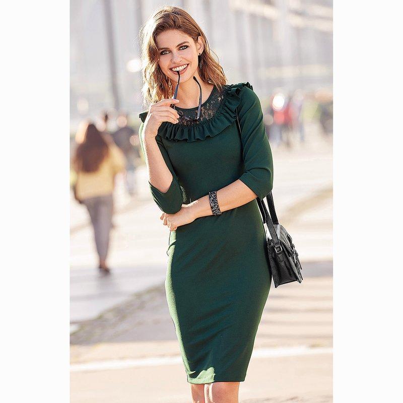 Vestido crepe mujer con canesú encaje y volante - Verde