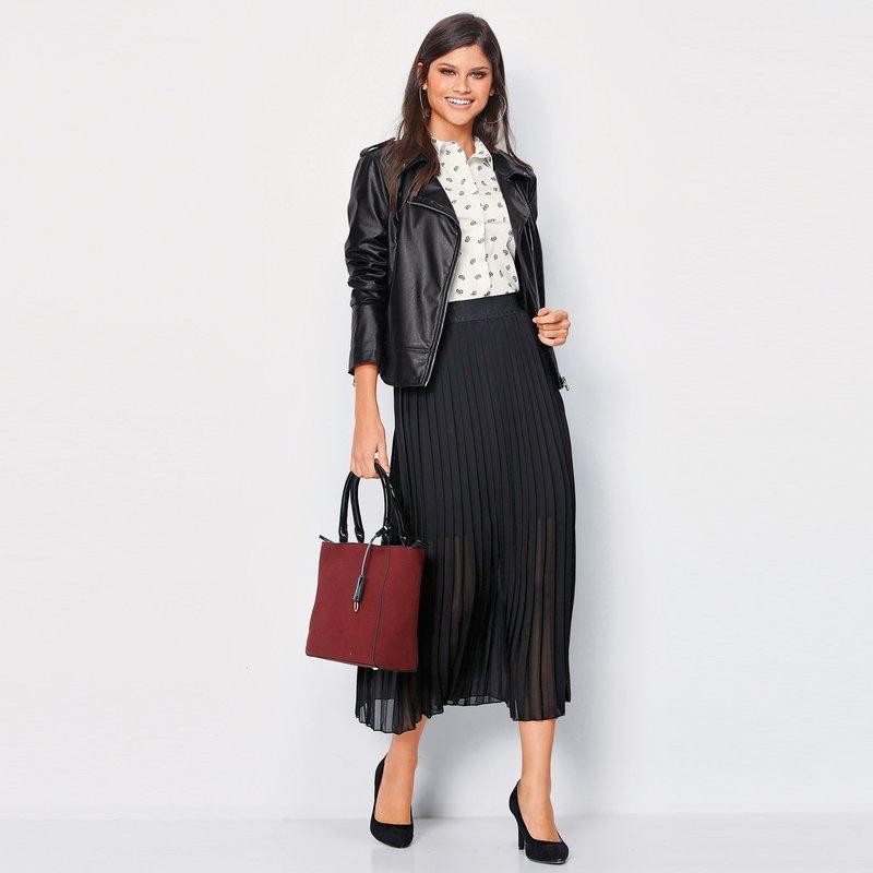 Falda midi de mujer crepe georgette forrada