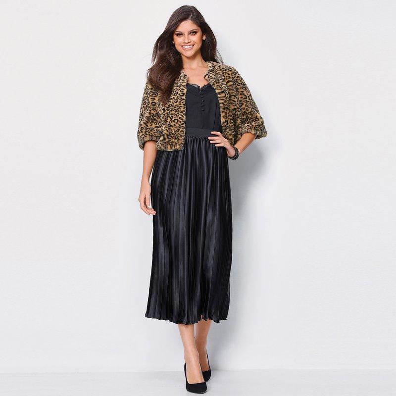 Falda midi mujer cintura elástica satén forrada