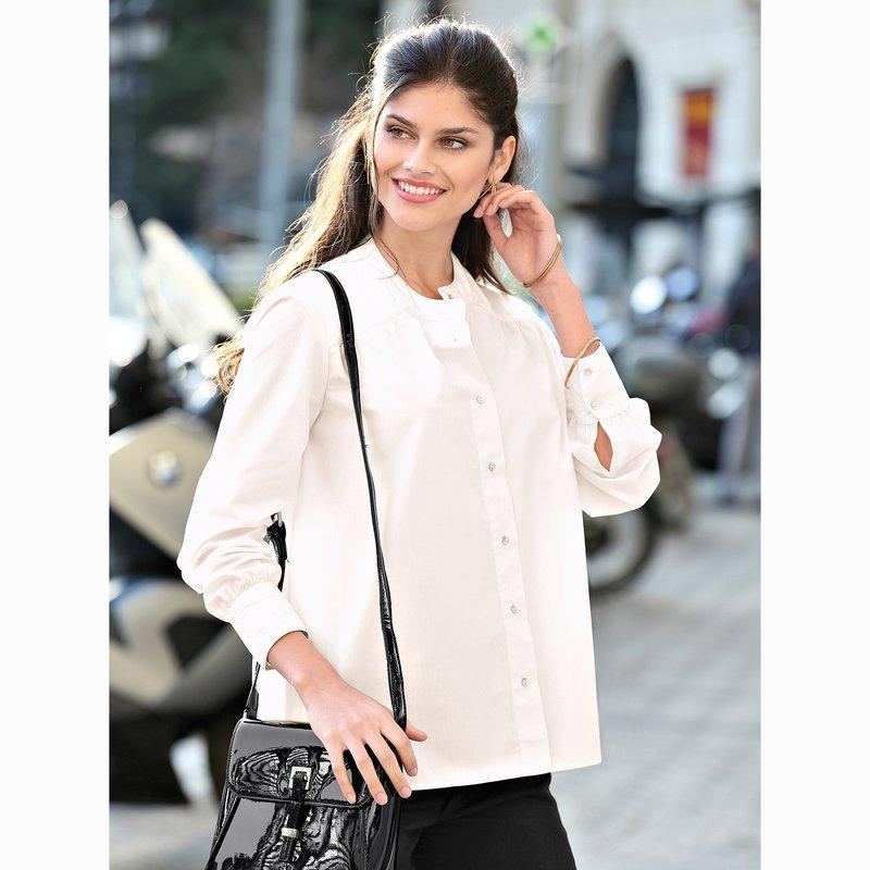 Camisa mujer cuello mao corte amplio manga larga