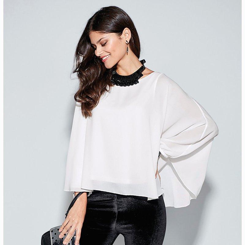 Blusa mujer tipo capa fluida con camiseta interior