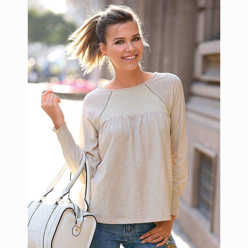 Camiseta mujer evasé con nido de abeja elástico