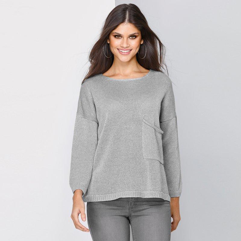 Jersey bolsillo plastrón tricot de hilos metalizados