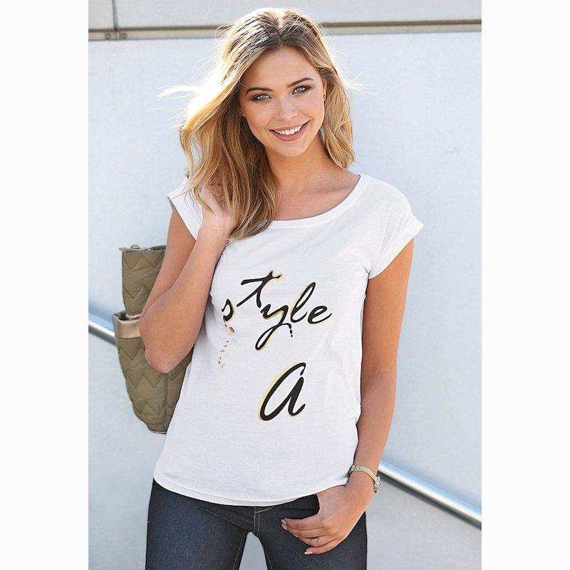 Camiseta de mujer metalizado en delantero Style