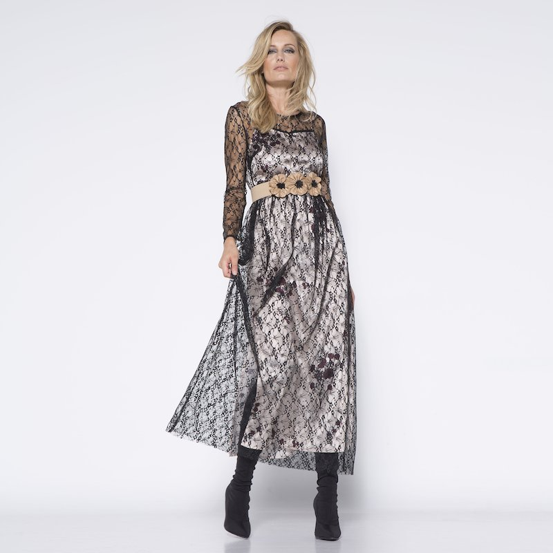 Vestido largo mujer encaje semitransparente