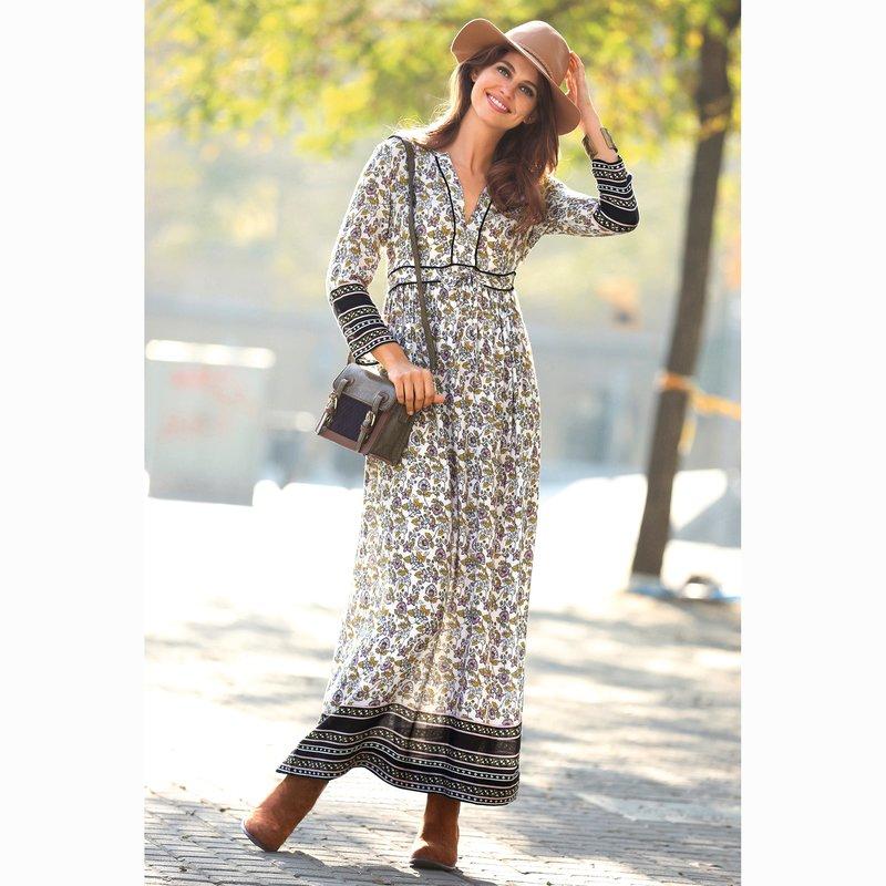 Vestido largo de mujer escote caftán estampado