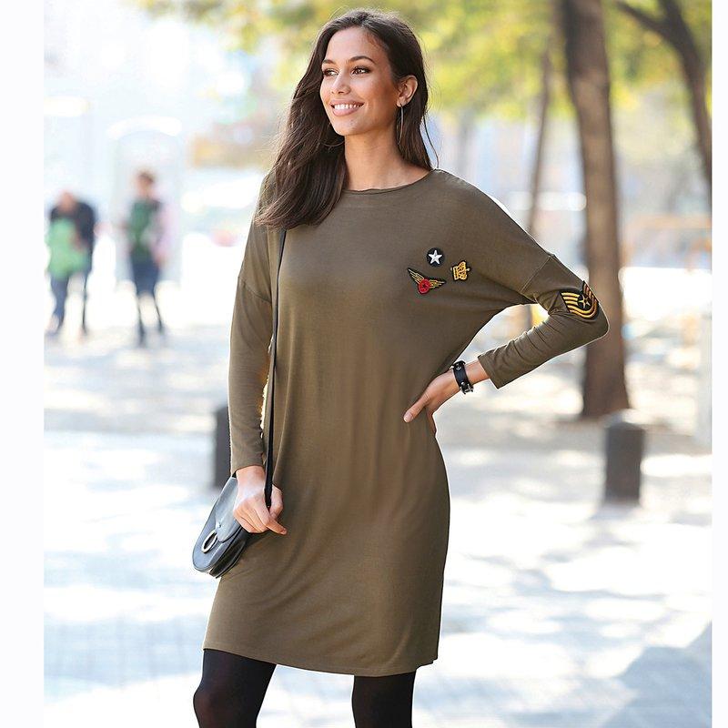 Vestido mujer de punto liso con aplicaciones bordadas