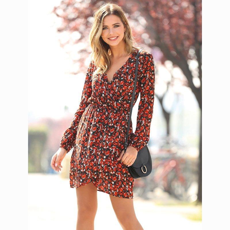 Vestido mujer escote V falda cruzada tipo pareo