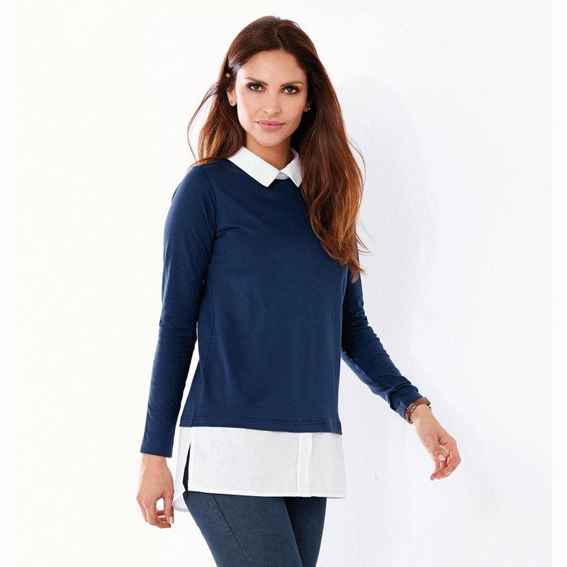 Camiseta de mujer efecto doble con camisa interior