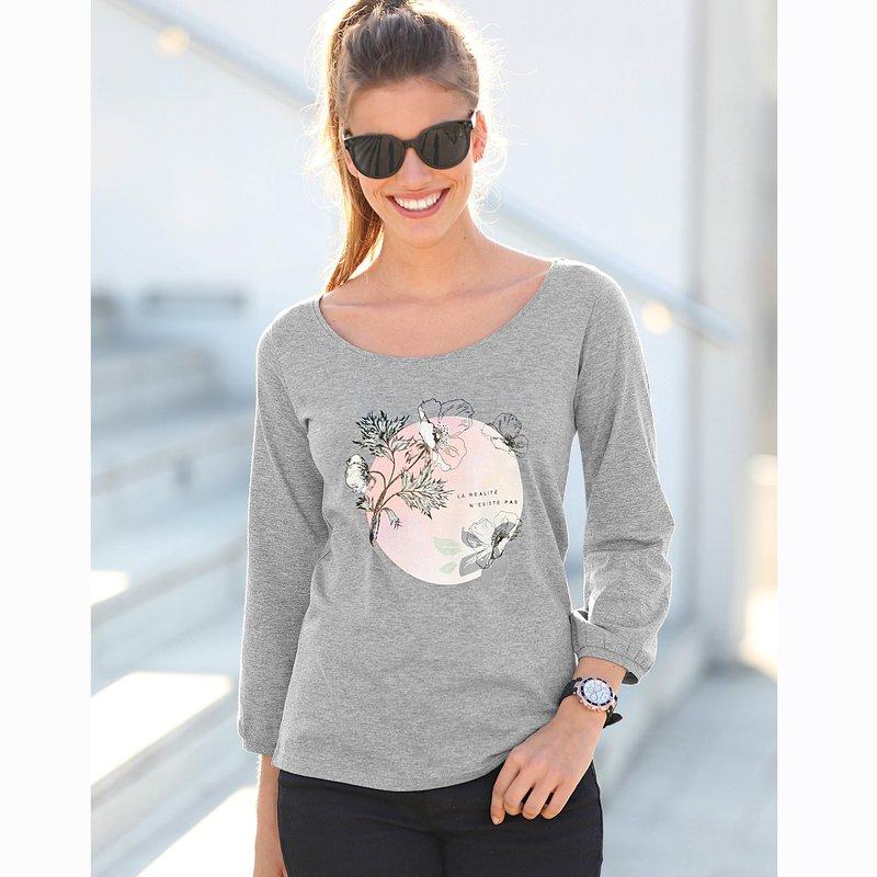 Camiseta manga 3/4 con puño y estampado romántico