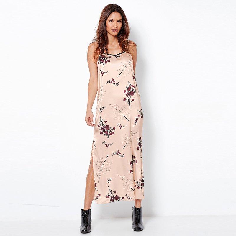 Vestido largo estampado corte lencero de satén