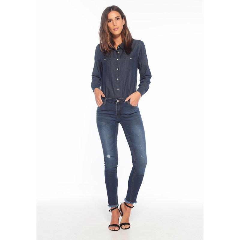 Pantalón vaquero mujer con detalles rotos skinny fit