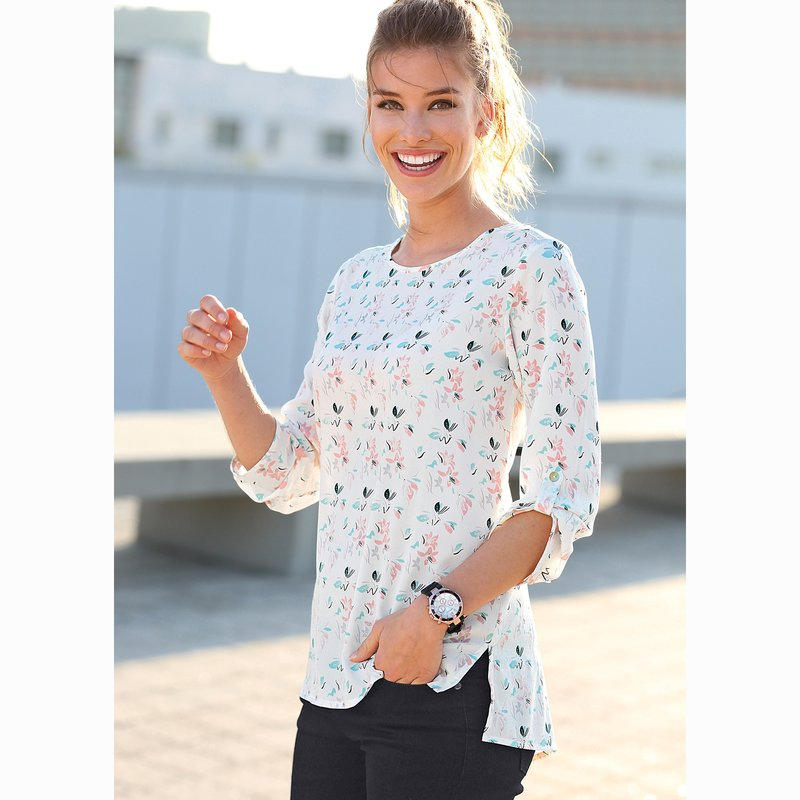 Blusa estampada manga 3/4 regulable