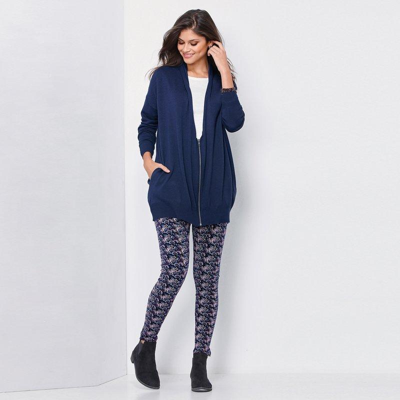 Pantalón legging paisley de punto liso elástico - Azul