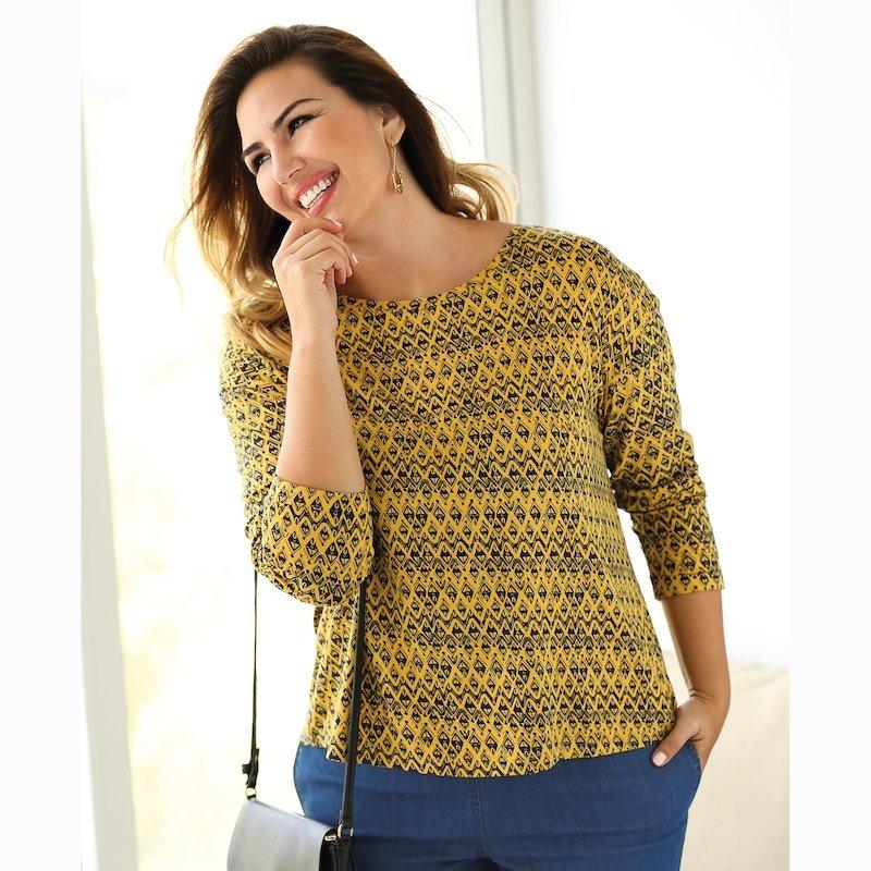 Camiseta de mujer estampada manga larga con vuelta