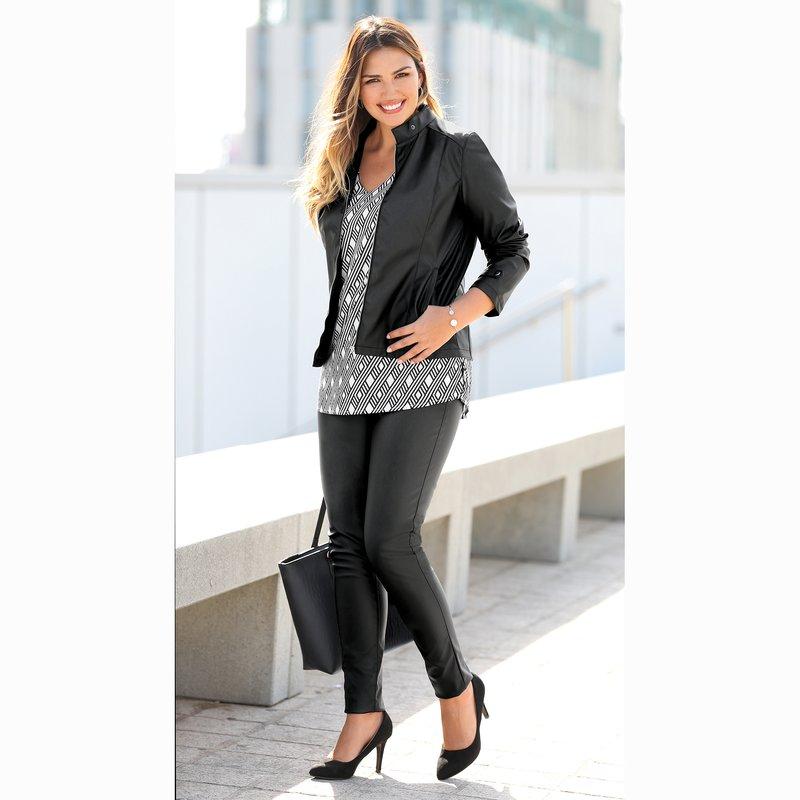 Pantalón mujer símil piel con cintura elástica