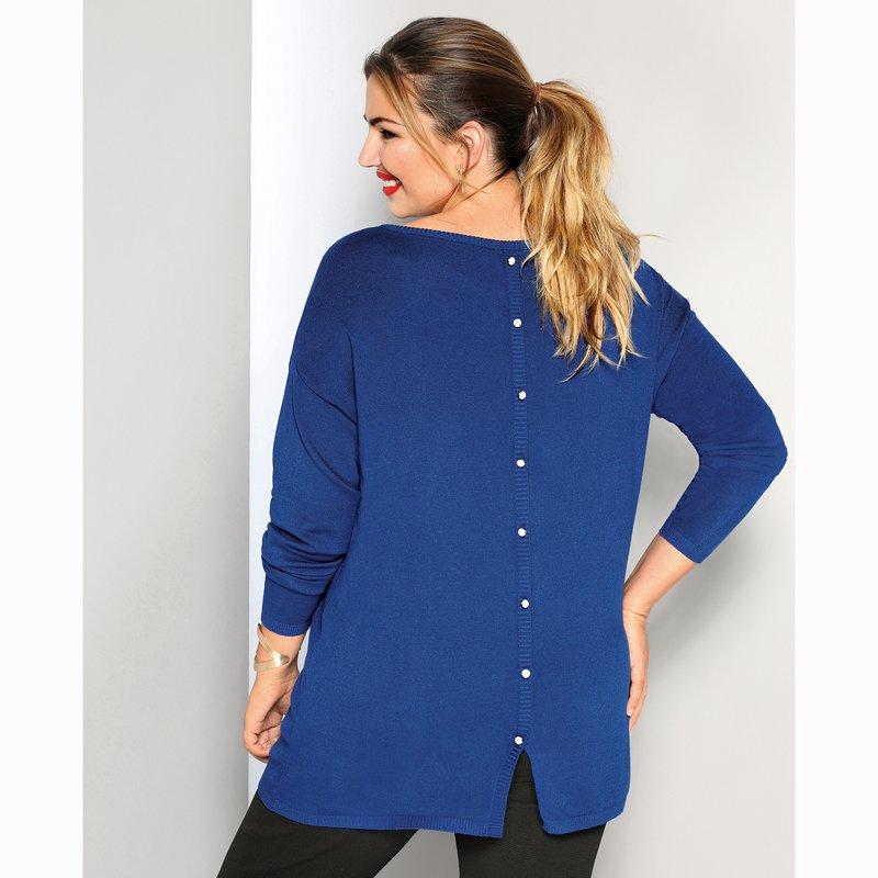 Jersey suave punto tricot con botones en la espalda