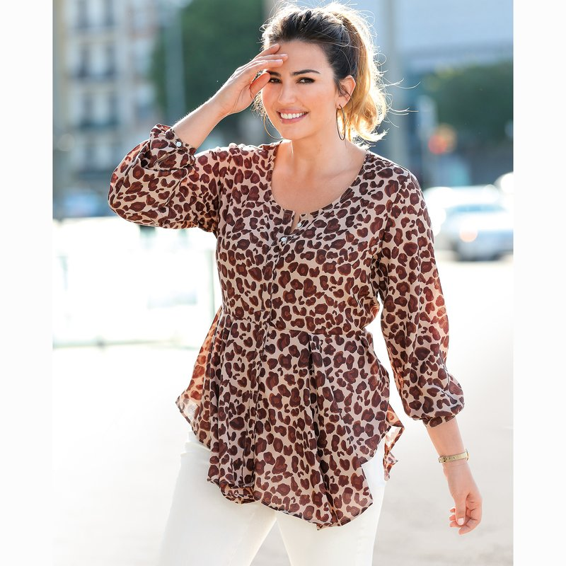 Blusa de manga larga con tablas estampado leopardo