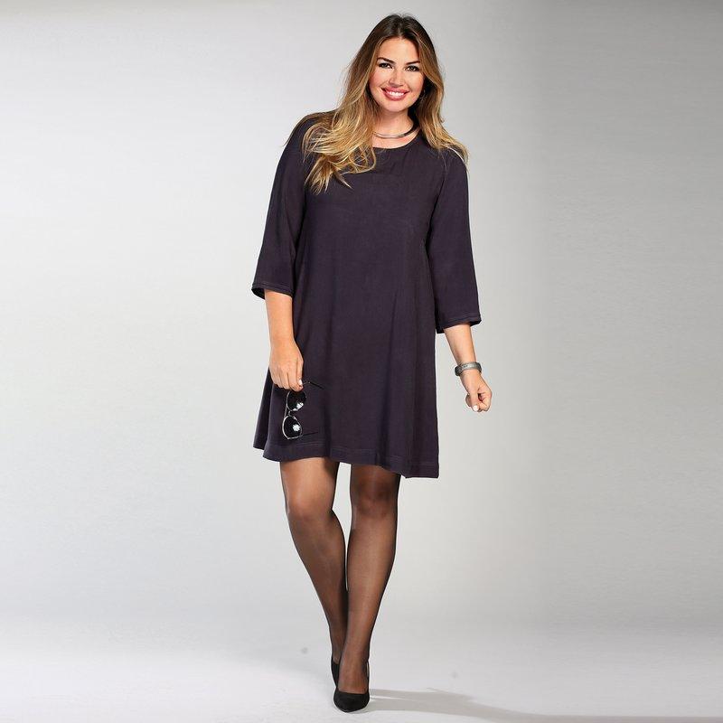 Vestido mujer liso de suave tejido con línea evasé