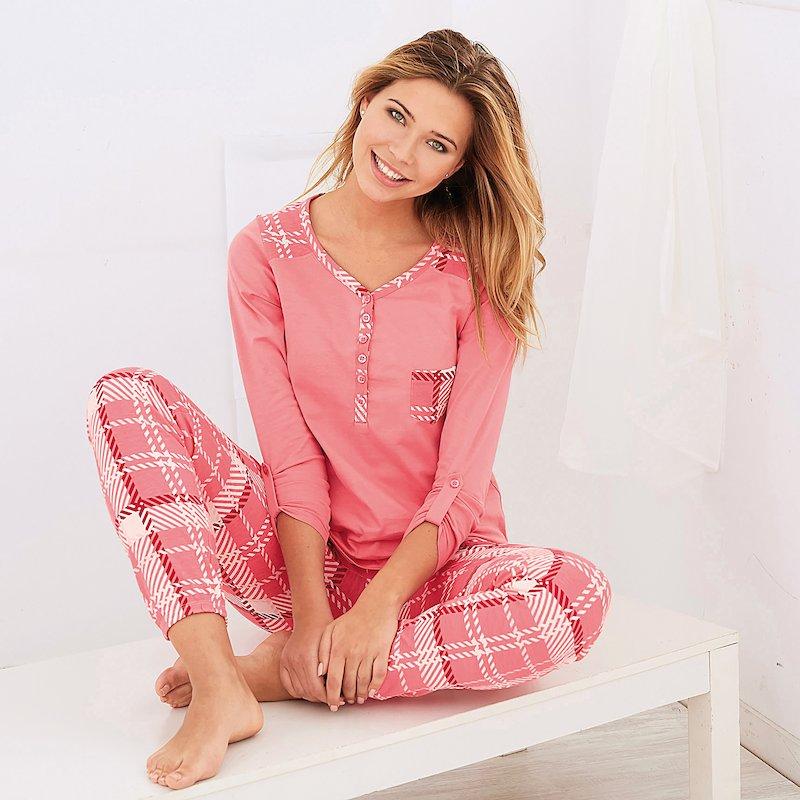 Pijama 2 piezas manga larga regulable y pantalón