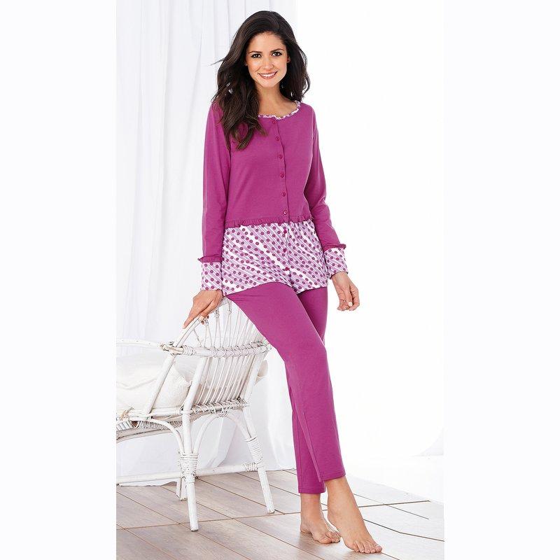 Pijama 2 piezas camiseta botones y pantalón pitillo