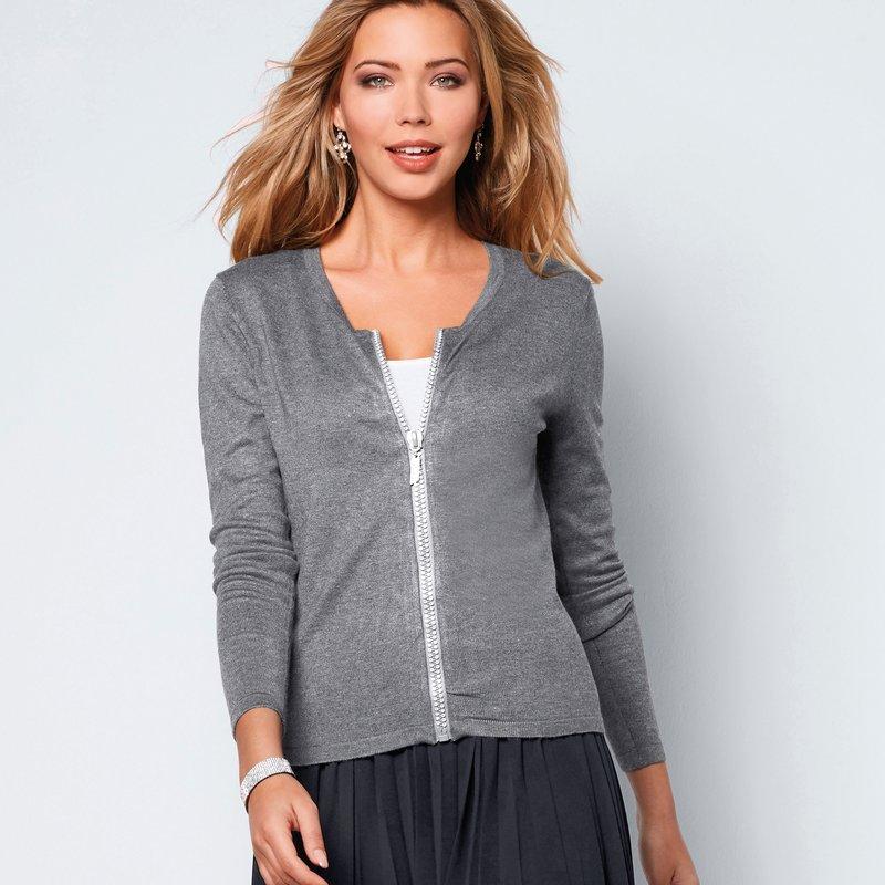 Chaqueta mujer de tricot con cremallera strass