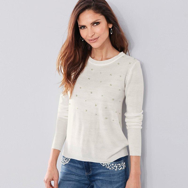 Jersey mujer tricot suave tacto aplicación perla