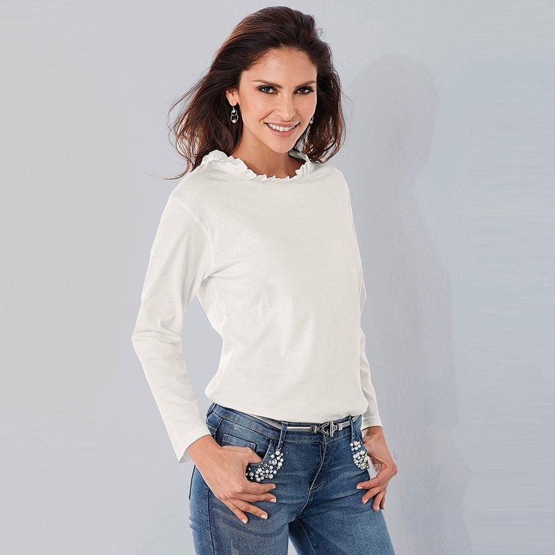 Camiseta manga larga escote redondo con volante rizado