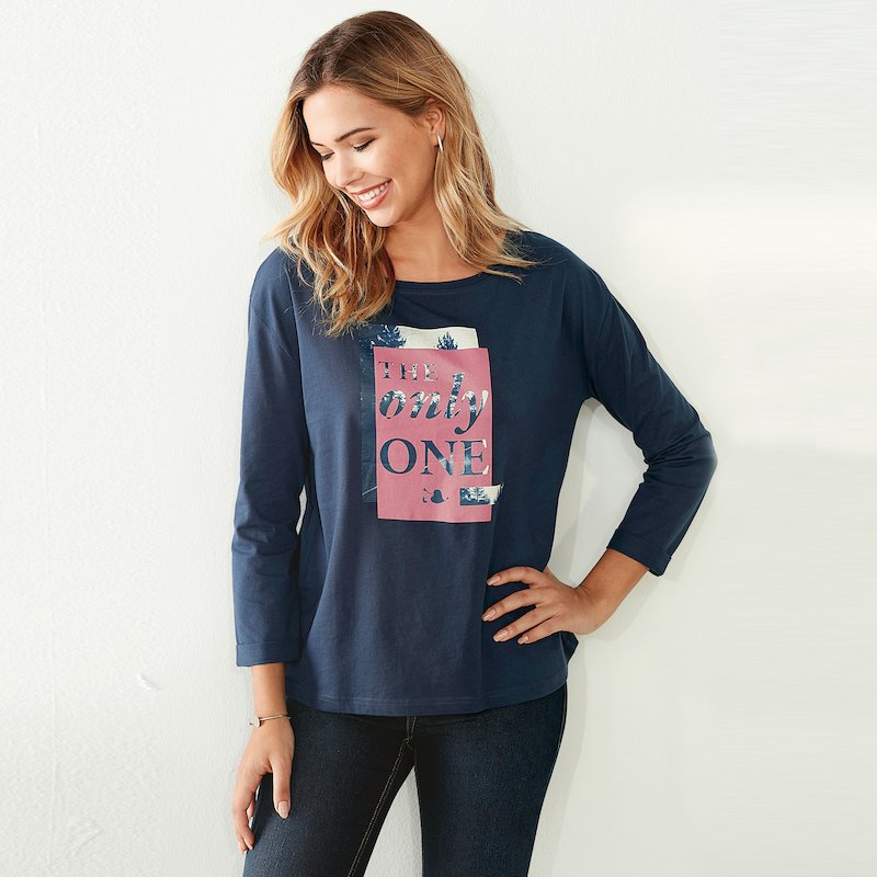 Camiseta punto liso estampado frontal The Only One