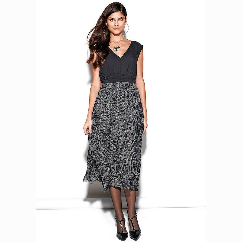 Vestido fiesta efecto doble con falda plisada