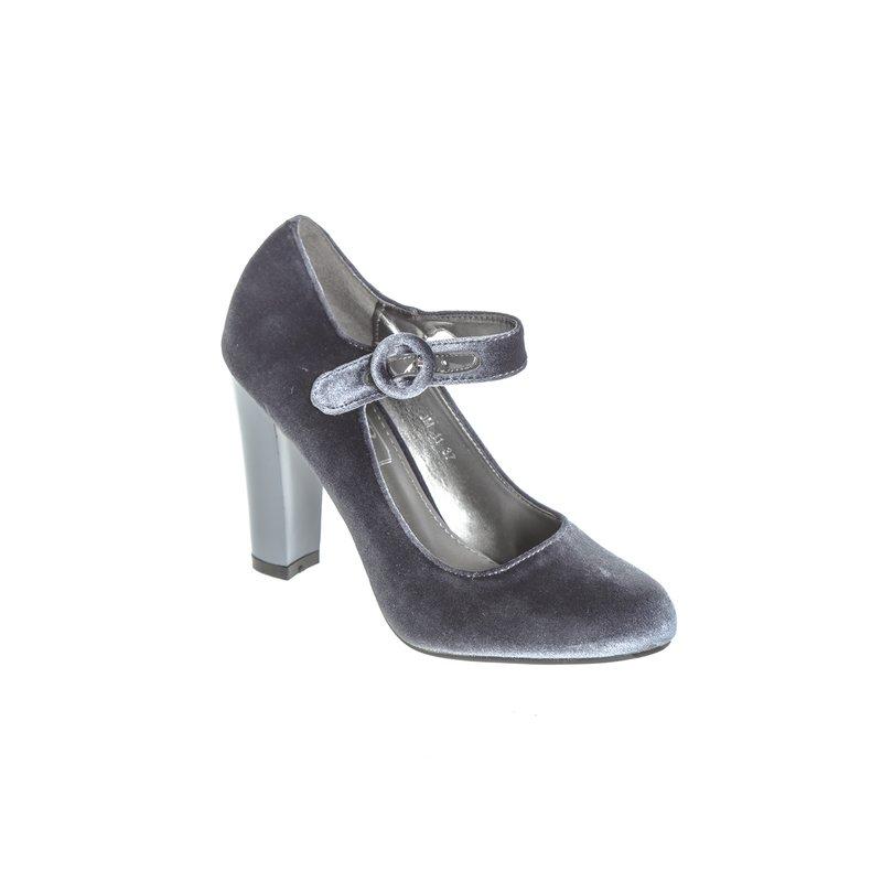 Zapatos de tacón forrados de terciopelo - Gris