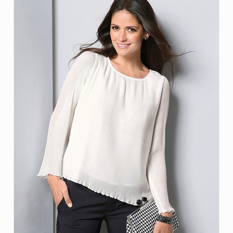 Blusa manga larga crepe georgette plisado forrada