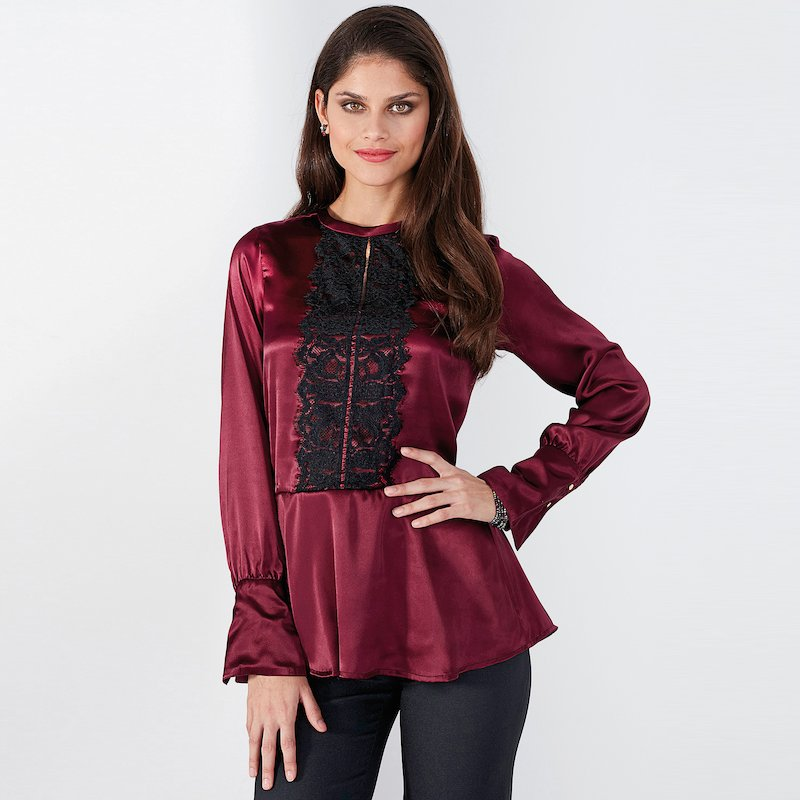 Blusa mujer manga larga en suave satén con encaje