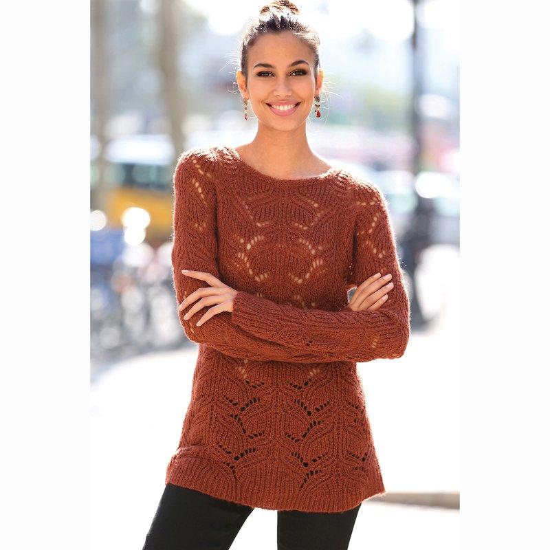 Jersey mujer tacto mohair con tricot diseño calado
