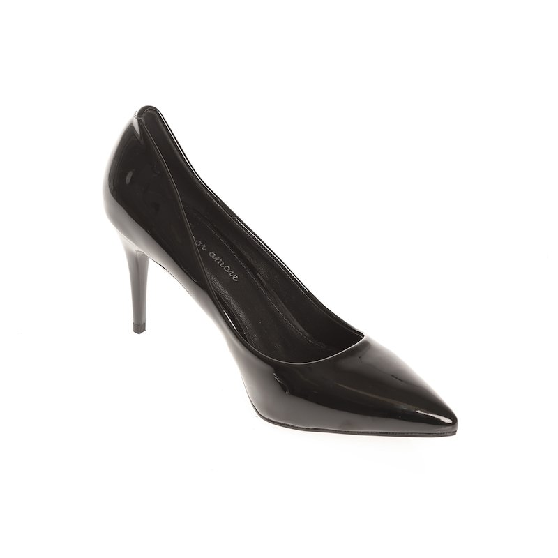 Zapatos de tacón mujer stiletto símil charol - Negro