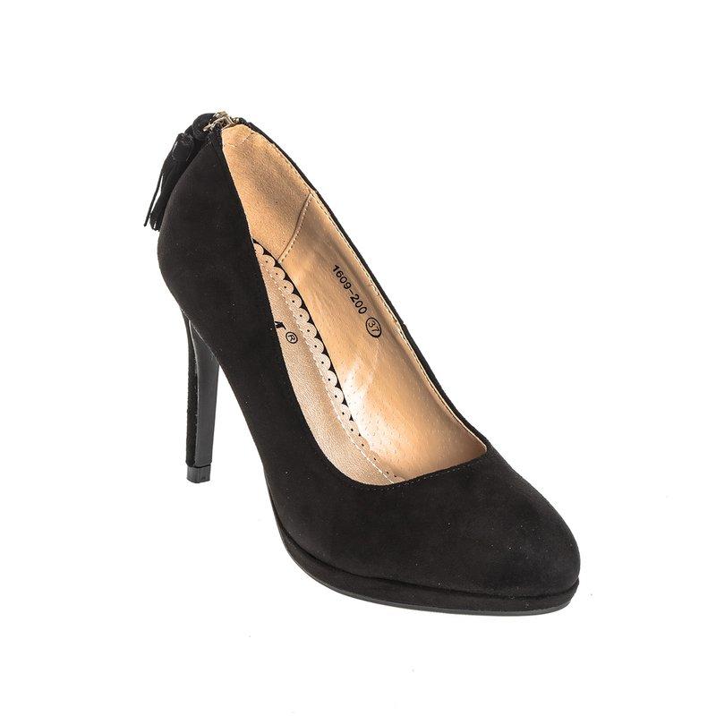 Zapatos corte salón en símil ante con cremallera