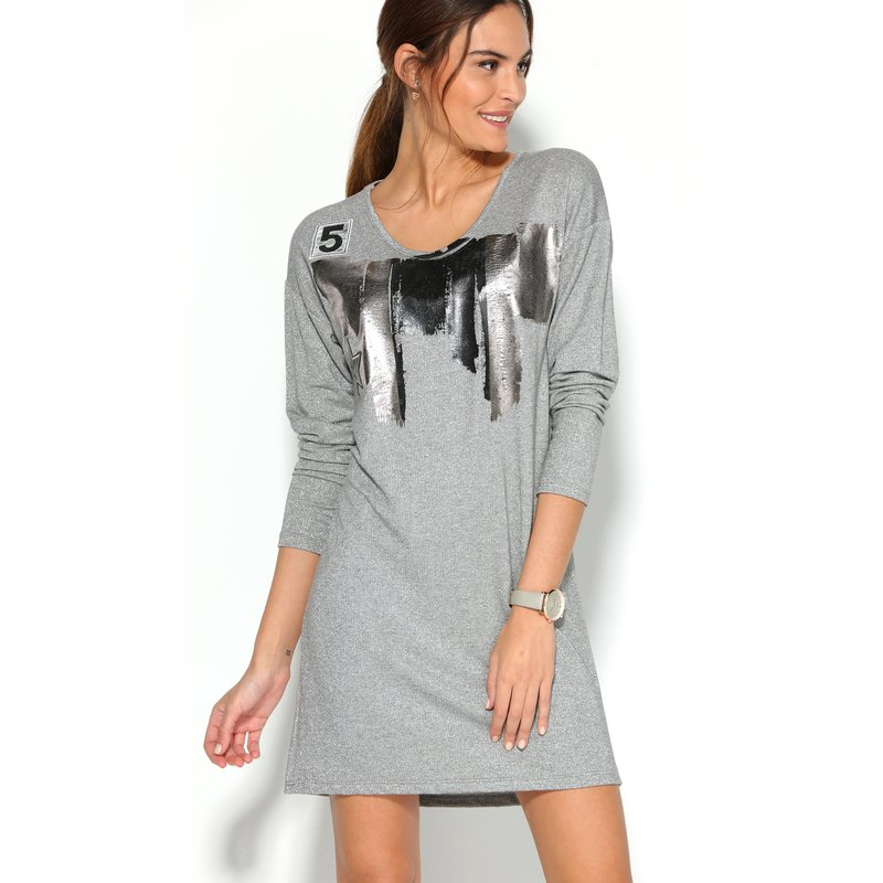 Vestido mujer manga larga metalizado de punto elástico - Gris