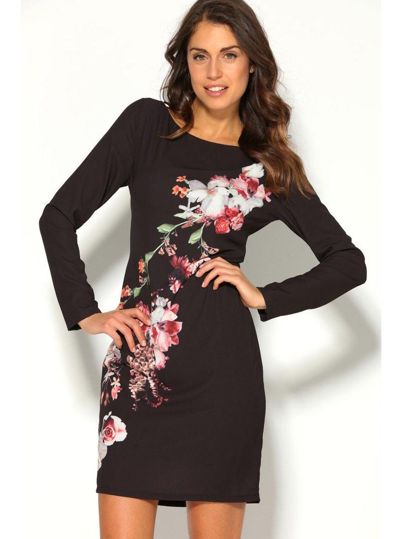 Vestido corto manga larga mujer floral