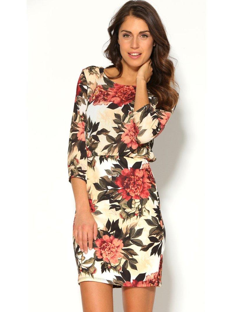 Vestido corto de mujer con estampado floral
