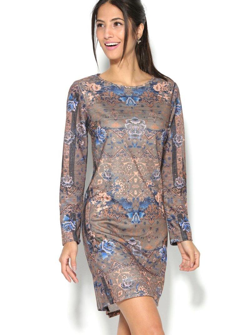 Vestido de punto manga larga estampado efecto tapizado