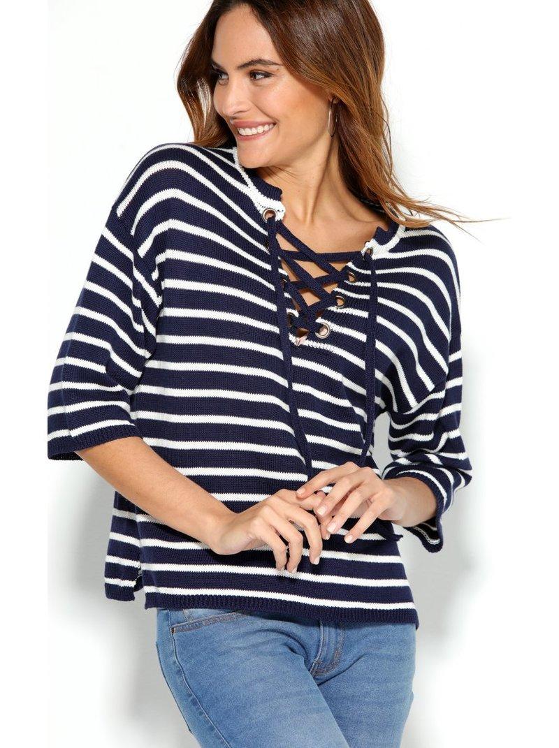 Jersey marinero rayas mujer con ojales metálicos