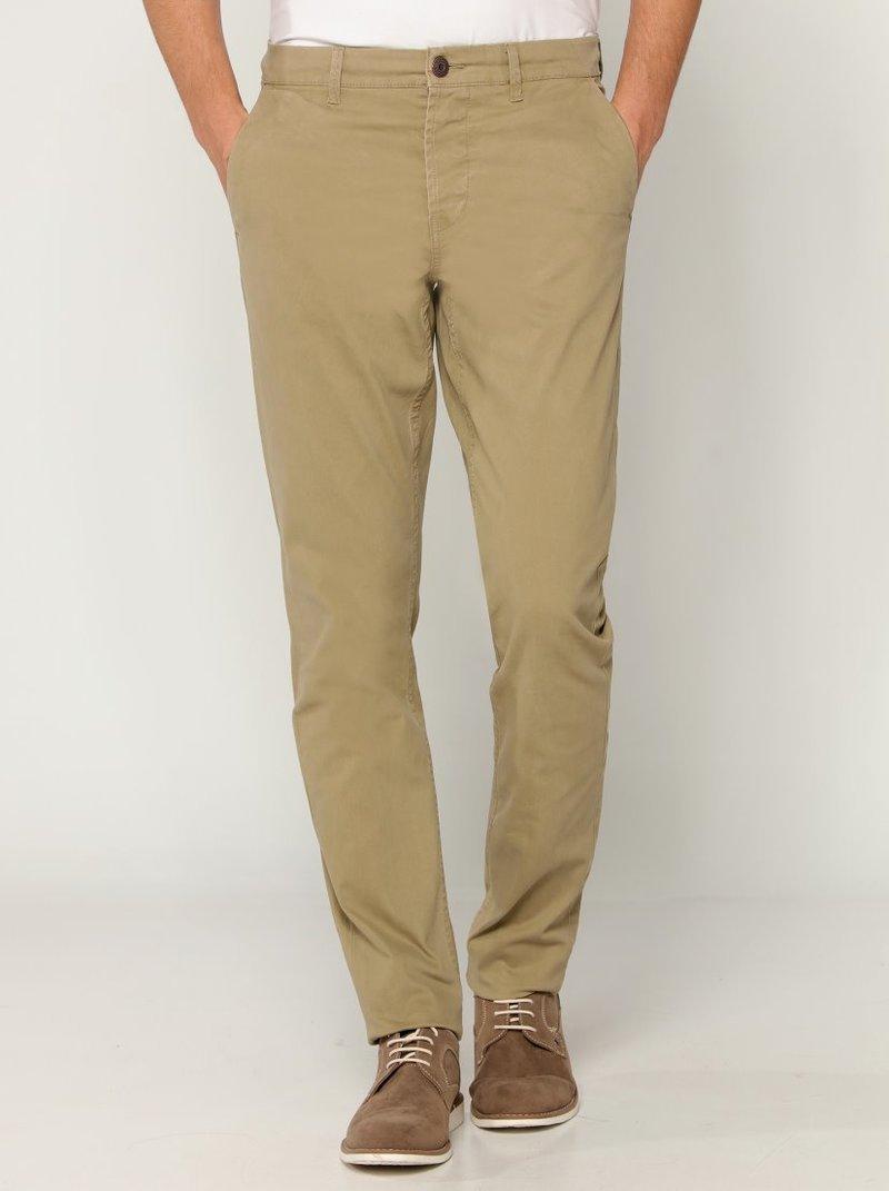 Pantalón chino elástico largo 34 hombre