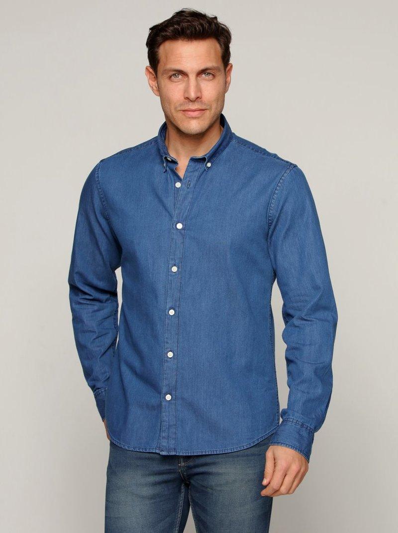 Camisa azul denim 100% algodón hombre