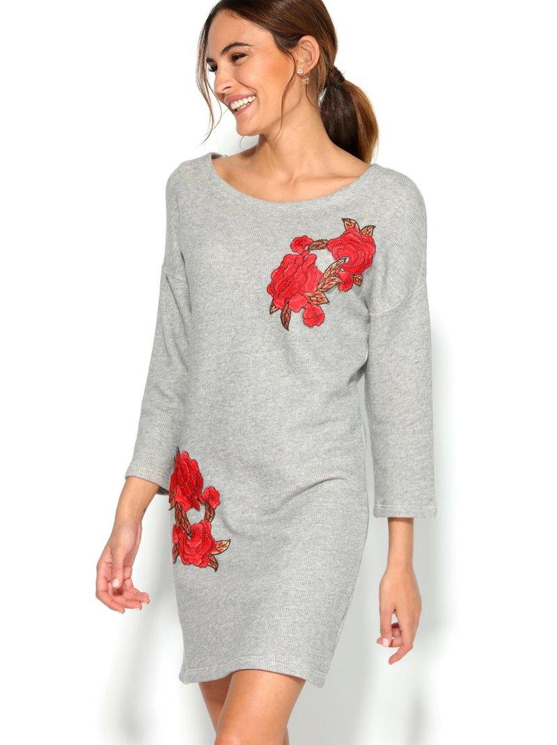 Vestido corto felpa mujer manga 3/4 floral