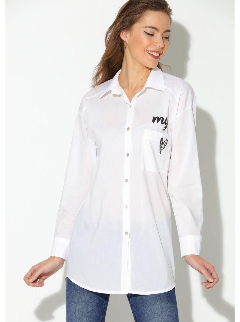 Camisa manga larga mujer con estampado corazón